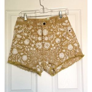 Free People High Waist Embroidered Shorts